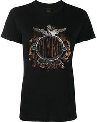 Pinko Graphic Print Round Neck T-shirt - Black