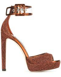 82c014600af3 Jimmy Choo Tayn Embellished Sandal in Red - Lyst