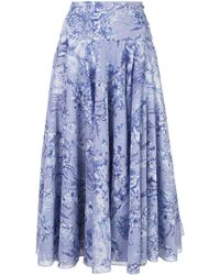 Samantha Sung Womens chambray/blue midi A- line skirt - Azul
