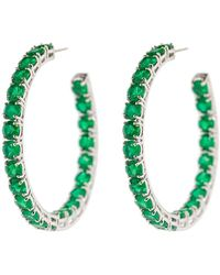 Bayco 18kt White Gold Emerald Hoop Earrings - Green