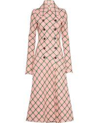 Miu Miu Check-pattern Double-breasted Coat - Pink
