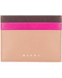 Marni Color Blocked Card Holder - Pink