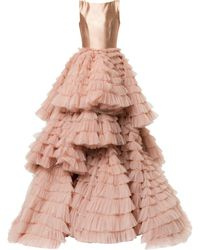 Isabel Sanchis Frill-layered Flared Gown - Pink