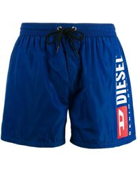 DIESEL Logo Print Swim Shorts - Blue