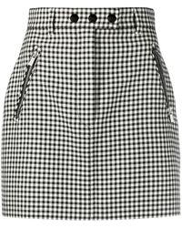 Miu Miu Gingham Check Mini Skirt - Black