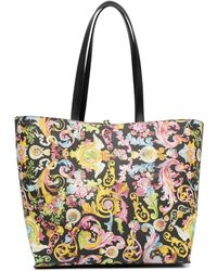 Versace Jeans Couture Baroque Print Tote Bag - Black