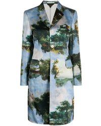 Comme des Garçons Graphic Print Single-breasted Coat - Blue