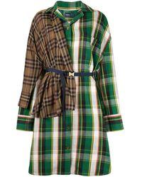 Kolor パッチワーク シャツドレス - グリーン