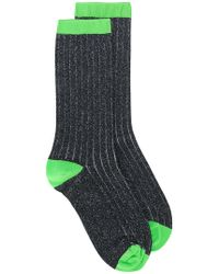 Ganni - Ribbed Glitter Neon Trimmed Socks - Lyst