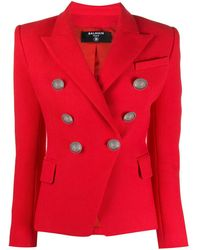 Balmain Blazer mit klassischem Revers - Rot