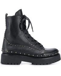 Pinko Studded Combat Boots - Black