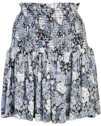 Ganni Rock mit Blumenapplikationen - Blau