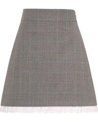 Miu Miu Houndstooth Lace-trim Skirt - Grey