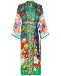Rianna + Nina - Long Multi Floral Check Print Silk Kimono Robe - Lyst