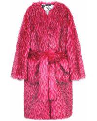 Dolce & Gabbana ベルテッド エコファーコート - ピンク