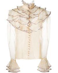Zimmermann Блузка С Прозрачной Вставкой И Оборками - Естественный