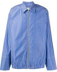 Marni Полосатая Рубашка На Молнии - Синий