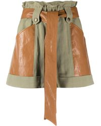 Twin Set Belted Flared Shorts - Green