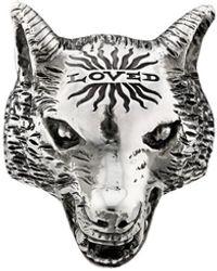 Gucci Anger Forest Ring Met Wolvenkop - Metallic