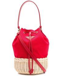 Prada Straw Bucket Bag - Red