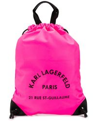 Karl Lagerfeld Rue St Guillaume Drawstring Backpack - Pink