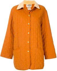 Hermès コントラストカラー コート - オレンジ