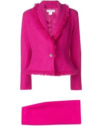 Dior Pre-owned Frayed Skirt Suit - Pink