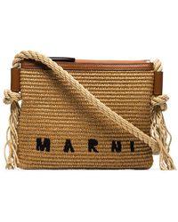Marni ロゴ ラフィア ショルダーバッグ - ブラウン