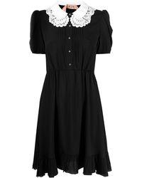 N°21 Платье С Короткими Рукавами И Кружевным Воротником - Черный
