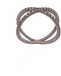 Eva Fehren - Blackened 18kt White Gold The Fine Shorty Diamond Ring - Lyst