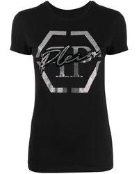 Philipp Plein Футболка С Логотипом Из Страз - Черный