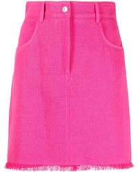 MSGM Fringed Hem Straight Skirt - Pink