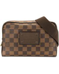 Louis Vuitton 2012 プレオウンド ダミエ エベヌ ブルックリン ベルトバッグ - ブラウン