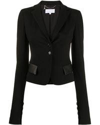 Patrizia Pepe Slim-fit Faux-leather Pocket Blazer - Black