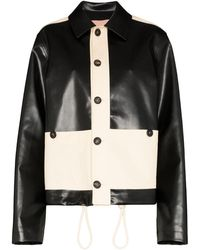 Plan C Two-tone Faux Leather Jacket - Black