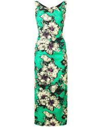 Miu Miu - Floral Print Fitted Dress - Lyst