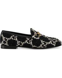 Gucci Jordaan Damen-Loafer aus GG Tweed - Schwarz