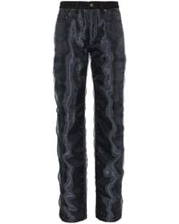 Y. Project Straight Leg Jeans With Organza - Black