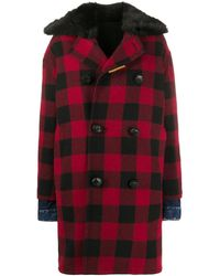DSquared² Double-breasted Checked Coat - Red