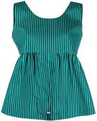 Plan C Полосатая Блузка Без Рукавов - Зеленый