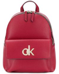 Calvin Klein Rucksack mit Logo-Schild - Rot