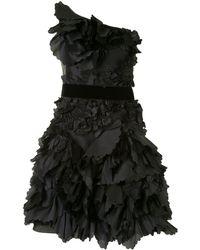 Marchesa notte ワンショルダー フローラル ドレス - ブラック