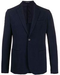 Emporio Armani Blazer à design texturé - Bleu