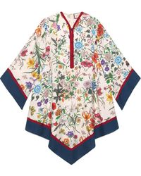 Gucci Robe style kimono à imprimé Flora - Blanc