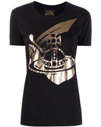 Vivienne Westwood Anglomania - Metallic Printed Logo T-shirt - Lyst