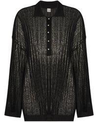 Totême リブニット ポロシャツ - ブラック