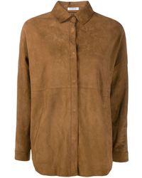 P.A.R.O.S.H. オーバーサイズ レザーシャツ - ブラウン
