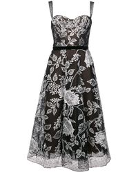 Marchesa notte Floral embroidered flared dress - Noir