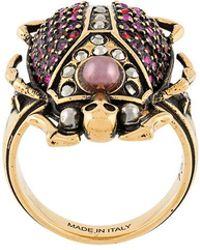 Alexander McQueen - Beetle Rihnstone Ring - Lyst