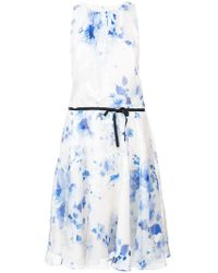 Monique Lhuillier - Printed Belt Dress - Lyst